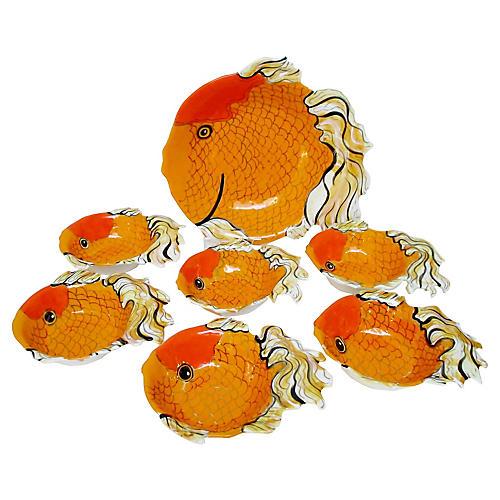 Artisan Goldfish Bowls, 7 Pcs