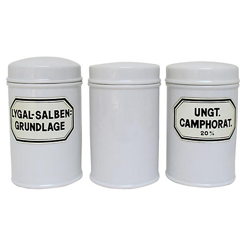 Porcelain Apothecary Canisters, S/3