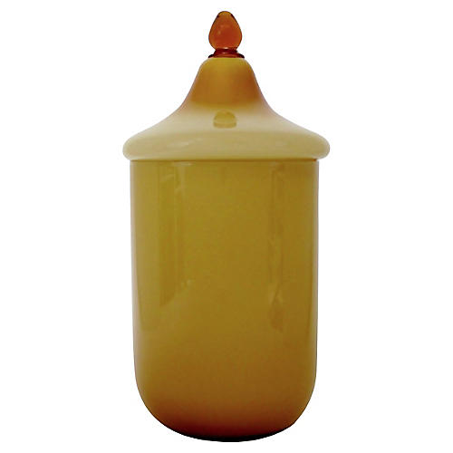 Amber Cased Glass Canister