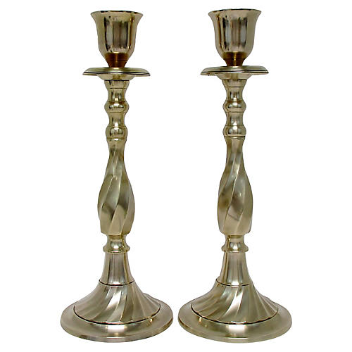 Brass Baluster Candlesticks, Pair