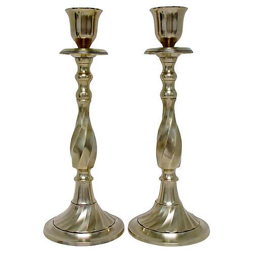 Brass Baluster Candlesticks, Pair