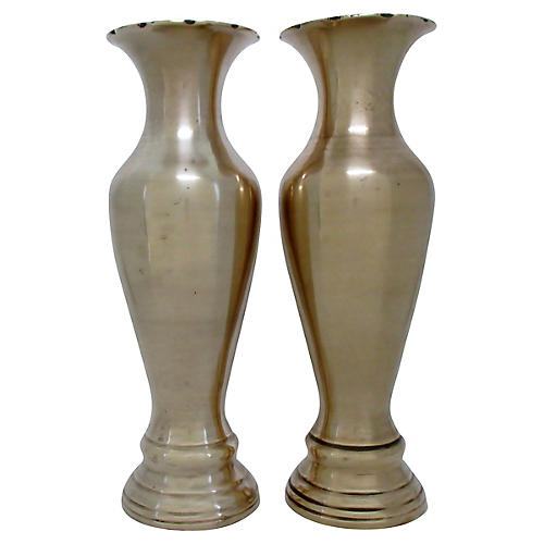 Neoclassical-Style Brass Vases, S/2