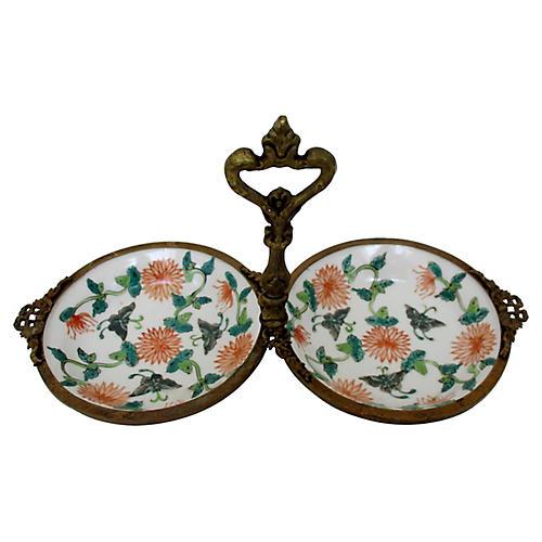 Porcelain & Brass Server