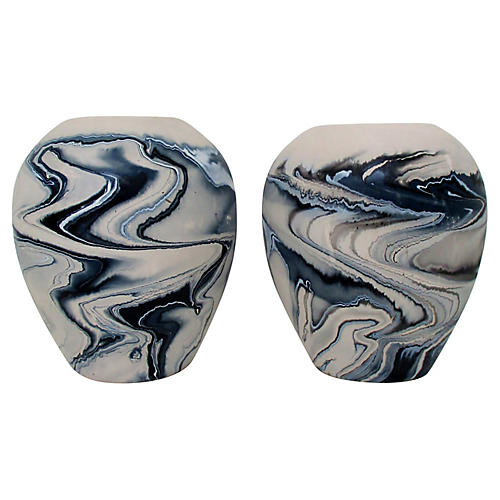 Nemadji Ceramic Vases, Pair