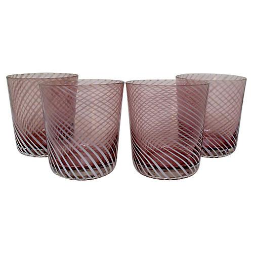 Mauve & White Swirl DOF Glasses, S/4