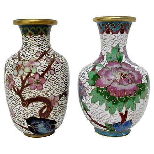 Petite Cloisonné Vases, S/2