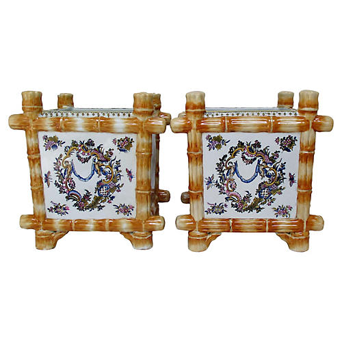 Chinese Porcelain Cachepots, S/2
