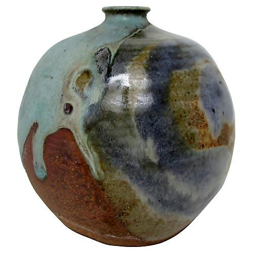 Drip Glaze Stoneware Accent Vase