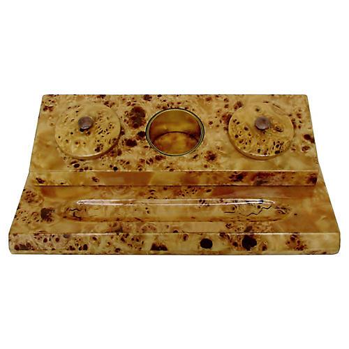 Burl-Wood Desk Set