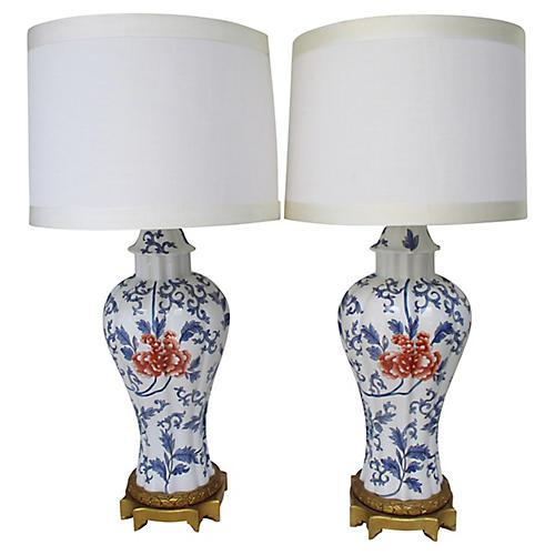 1920s Parisian Porcelain Lamps, S/2