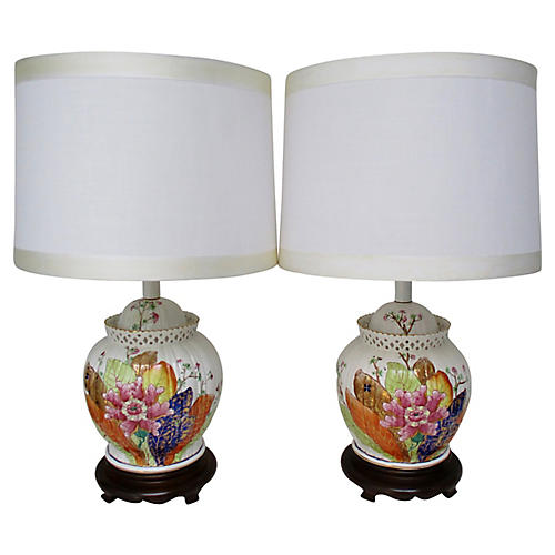 Tobacco Leaf Porcelain Lamps, S/2