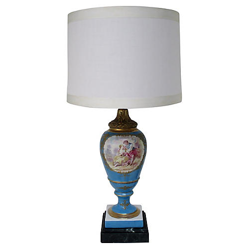 19th-C. Maxant Porcelain Table Lamp