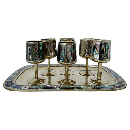 Silver & Abalone Cordials, 7 Pieces