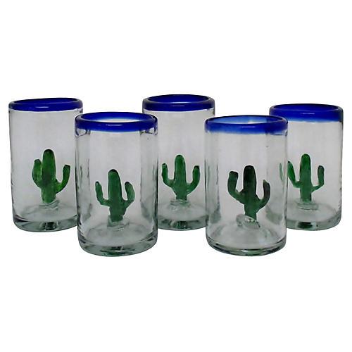 Mexican Glass Highballs, Set of 5