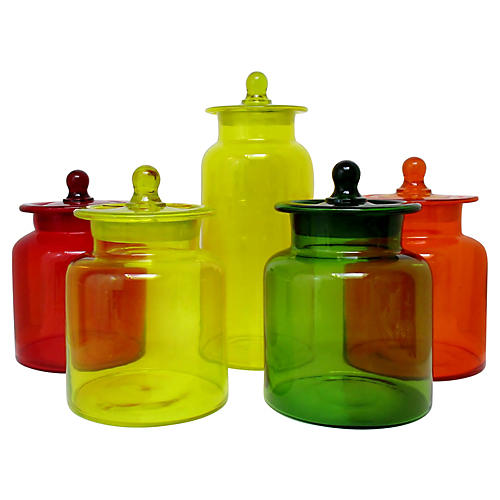 Blown Glass Canisters, Set of 5