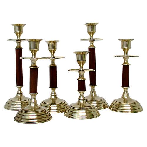 Brass & Wood Candlesticks, Set of 6
