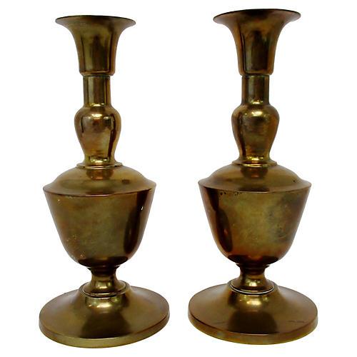 Brass Urn-Shaped Candlesticks, Pair