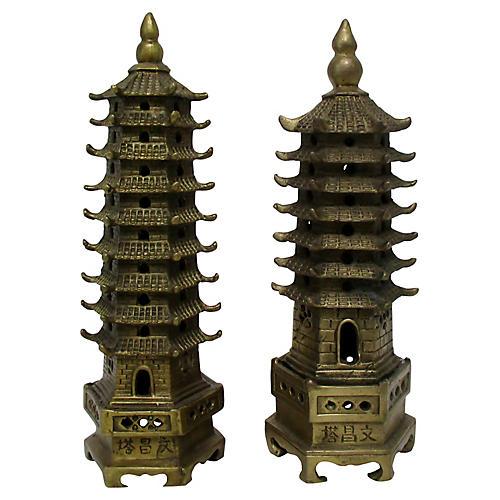Brass Garden Pagodas, Pair