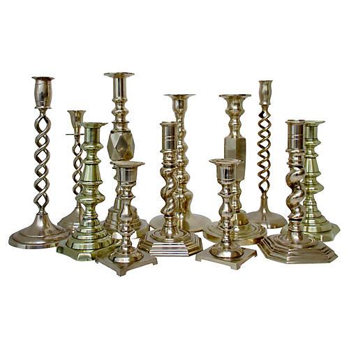 Assorted Brass Candlesticks, S/12