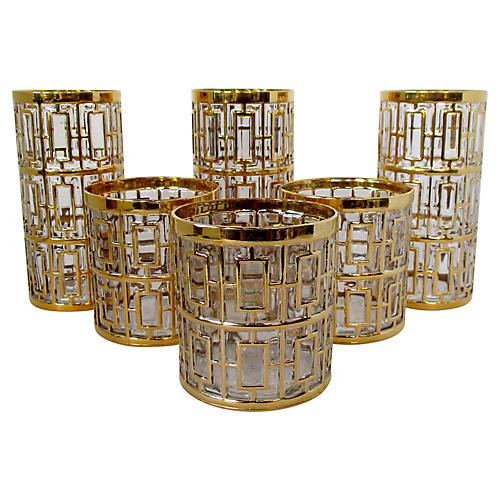 Imperial Shoji Gold Glasses, Set of 6