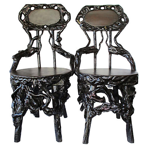 Chinese River Root Chairs, Pair