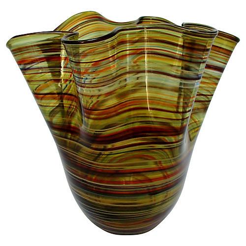 Murano Striped Handkerchief Vase