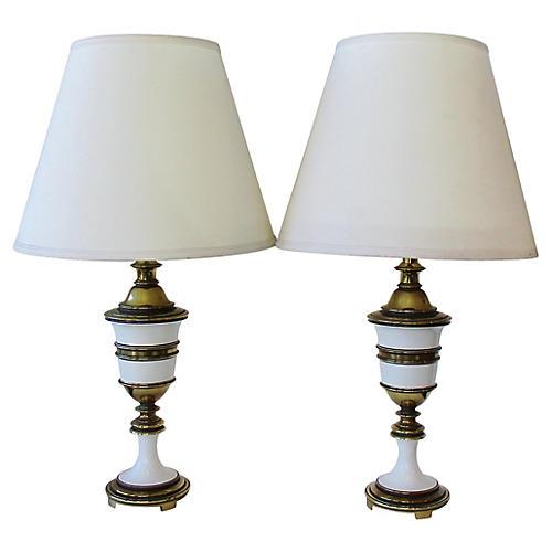 Stiffel Brass & Enamel Table Lamps, Pair