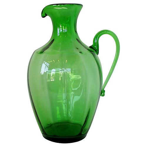 Blenko Green Glass Pitcher Vase