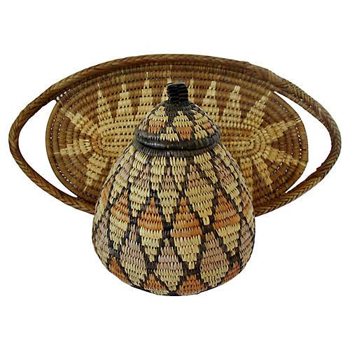 Zulu Woven Fiber Baskets, Set of 2