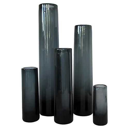 Holmegaard Smoke Glass Vases, S/5