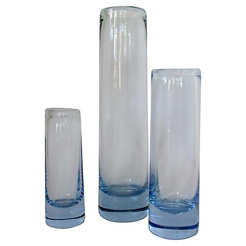 Holmegaard Blue Vases, Set of 3