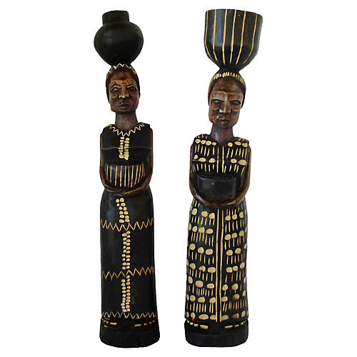 African Wood Figurines, S/2