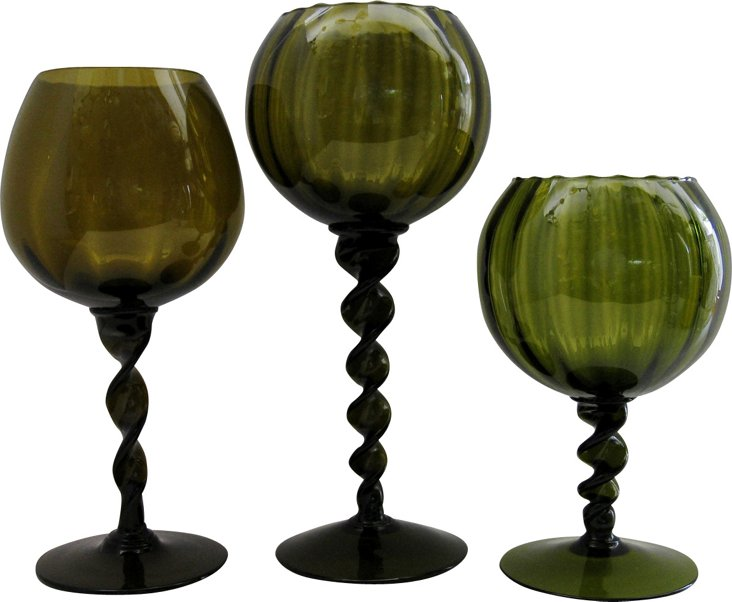 Green Glass Goblet Vases, S/3