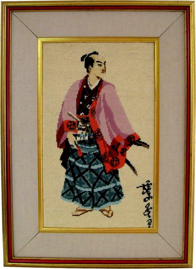 Framed Samurai Needlepoint