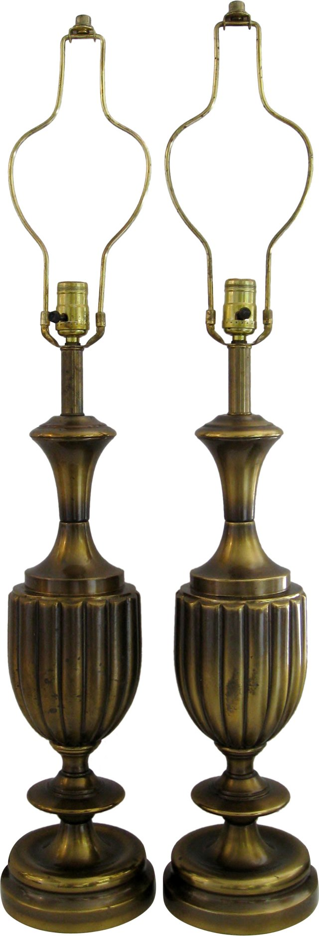 Brass Urn Lamps, Pair