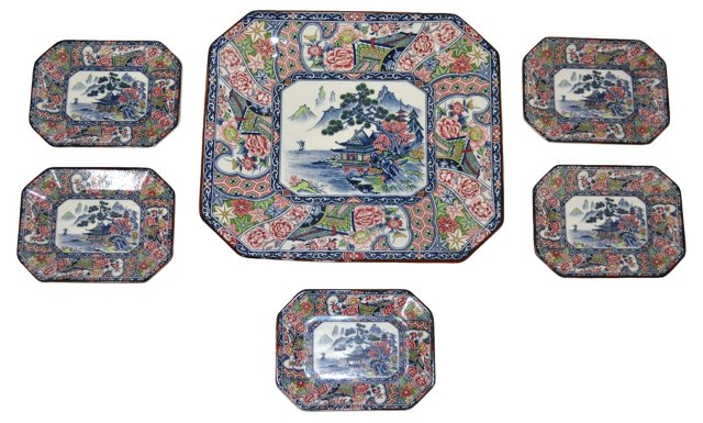 Chinoiserie Platter w/ 5 Side Dishes