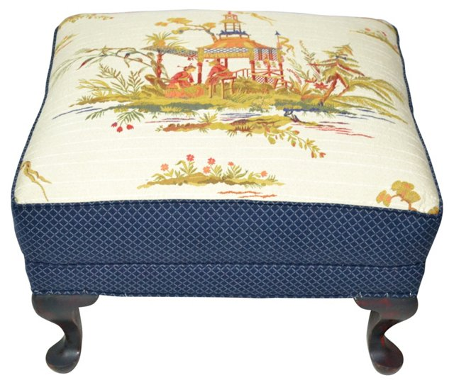 Chinoiserie Tapestry Ottoman
