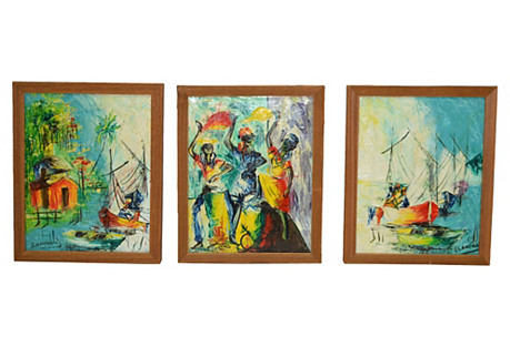 Haitian Paintings by Blanchard, S/3