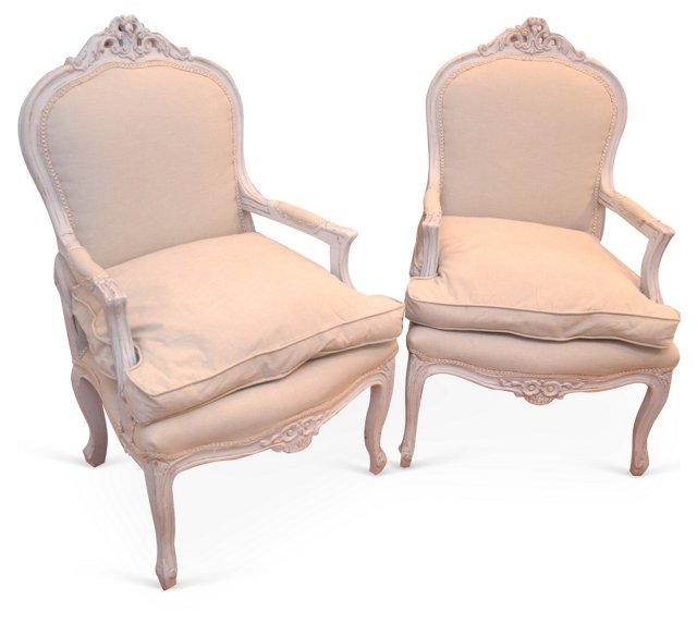 Louis XV-Style  Armchairs, Pair