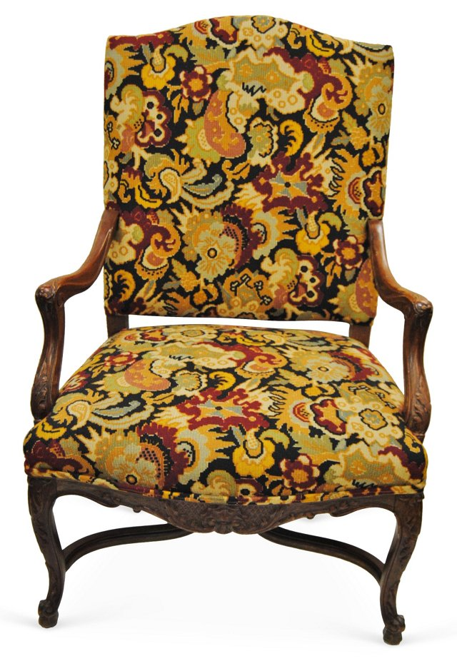 French Chair w/ Brunschwig Upholstery