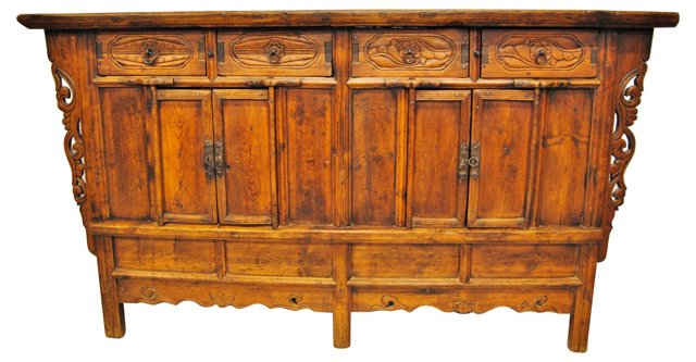 Antique Chinese Carved Sideboard