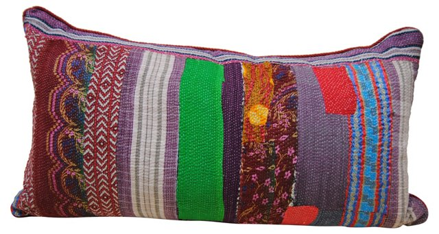 Patchwork Kantha Quilt Pillow