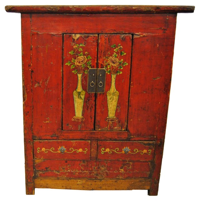 Antique Chinese Red Tall Cabinet