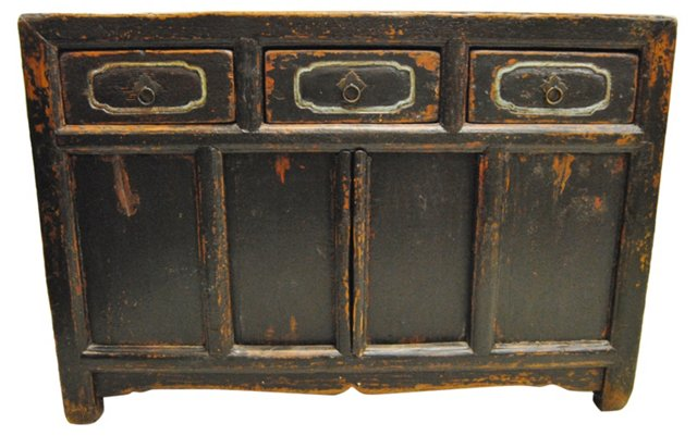 Antique Chinese Black   Cabinet