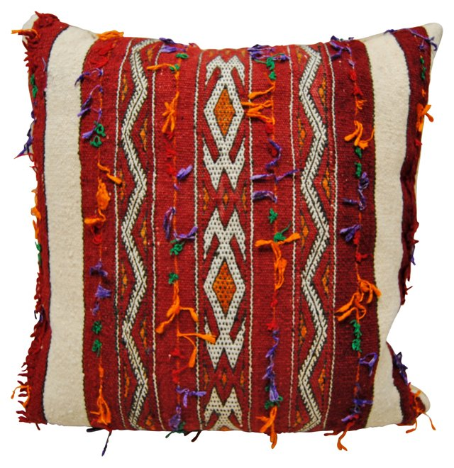 Red    Moroccan Wool Pillow