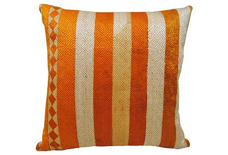 Phulkari Bagh Pillow w/ Stripes