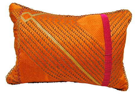 Orange Phulkari Bagh Pillow, India