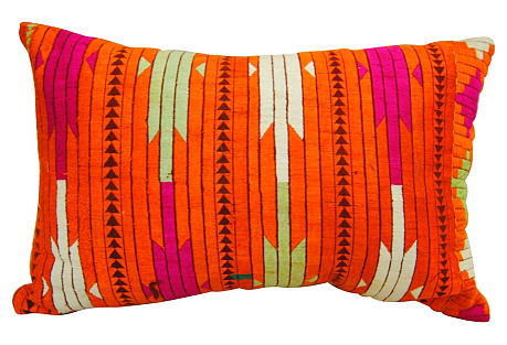Silk Embroidered Phulkari Pillow