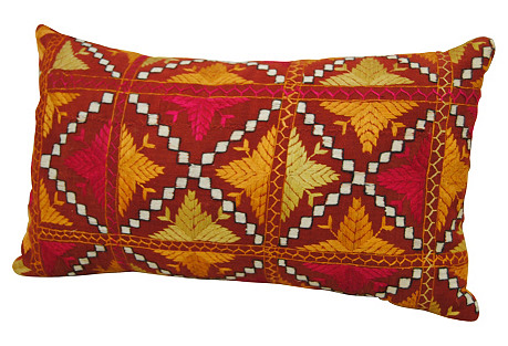 Warm Silk Phulkari Pillow