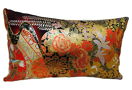 Hand-Painted Silk Japanese Kimono Pillow